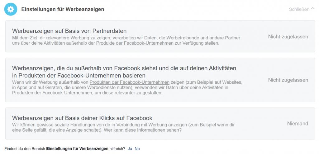 Anleitung Facebook Datenschutzeinstellung Werbung