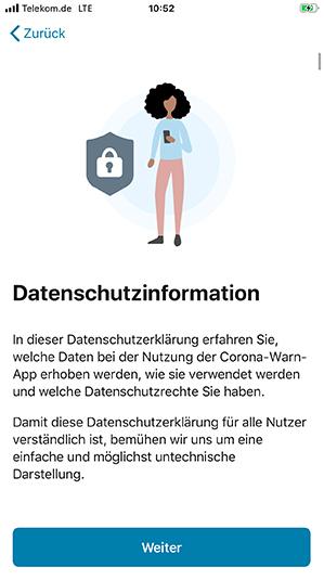 Datenschutzerklärung in der Corona Warn App
