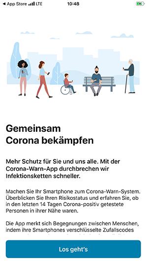 Hinweis beim Start der App - Gemeinsam Corona bekämpfen