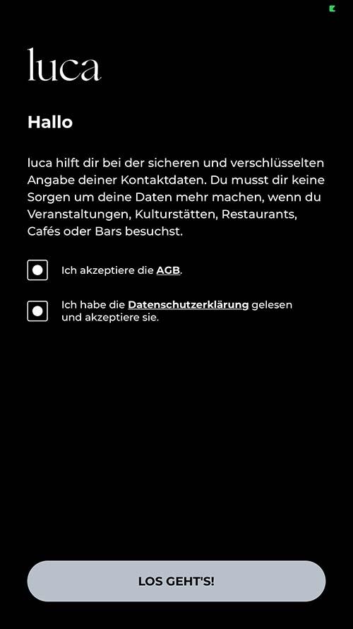 Luca-App AGBs zustimmen